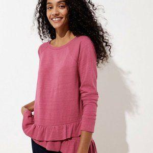 LOFT NWT Women's Ruffle Hem Sweatshirt